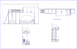 Elevation and side view of furniture detail view dwg file