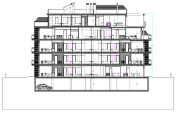 Elevation block of flats layout file