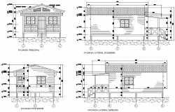 Elevation cabin in wood plan detail autocad file
