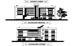 Elevation commercial building school plan detail dwg file