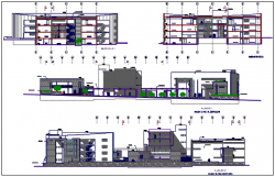 Elevation commercial plan detail dwg file