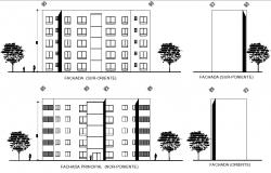 Elevation department building plan detail dwg file