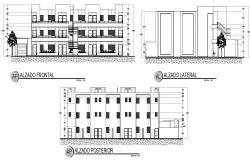 Elevation department house plan autocad file