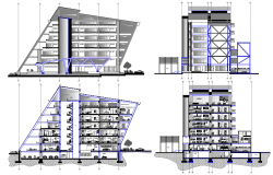 Elevation design and section plan of Apartment
