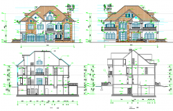 Elevation design and section plan of House