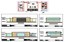 Elevation design drawing of GYM area design for Villa's design drawing