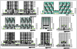 Elevation design drawing of corporate high rise building design drawing