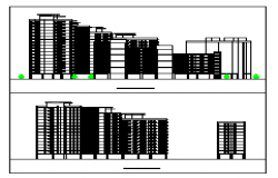 Elevation design drawing of flat high rise building design drawing