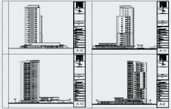 Elevation design of High rise residential building design drawing