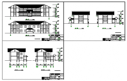 Elevation design of Water transfer center design drawing