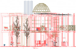 Elevation design of a cafe dwg file