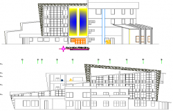 Elevation design of a city or mall or complex dwg file