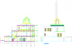 Elevation design of a masjid dwg file