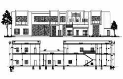 Elevation design of a residential building with detail dimension in dwg file