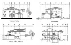 Elevation design of the bungalow with detail dimension in dwg file