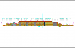Elevation detail and section detail of commercial building plan dwg file