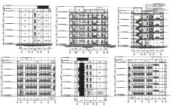Elevation details and section Building CAD drawing