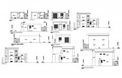 Elevation drawing of a house with detail dimension in AutoCAD