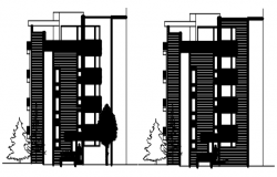 Elevation drawing of a residential apartment design in autocad
