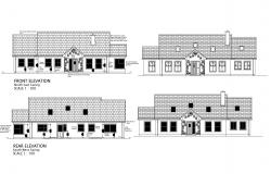 Elevation drawing of a residential house with detail dimension in dwg file
