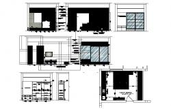 Elevation drawing of an interior house with detail dimension in dwg file