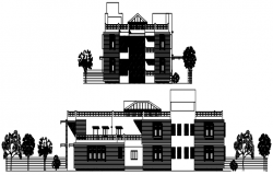 Elevation drawing of building design in AutoCAD