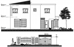 Elevation drawing of bungalow design in autocad