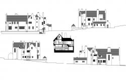 Elevation drawing of hill house in dwg file