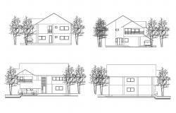 Elevation drawing of single family house in autocad