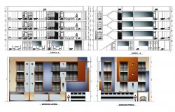 Elevation drawing of the apartment with detail dimension in dwg file