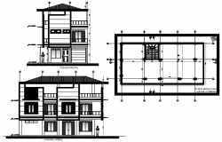 Elevation drawing of the bungalow in AutoCAD
