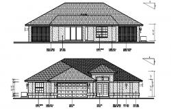 Elevation drawing of the bungalow with detail dimension