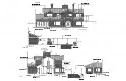 Elevation drawing of the bungalow with detail dimension in dwg file
