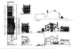 Elevation drawing of the bungalow with elevation and section in dwg file