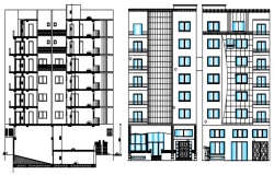 Elevation drawing of the residential building in dwg file