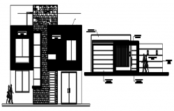 Elevation drawing of the residential house in dwg file