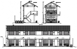 Elevation drawing of the school building in dwg file