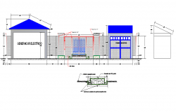 Elevation electrical substation detail dwg file