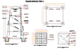 Elevation elevator tank plan and section autocad file