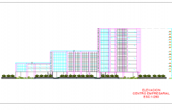 Elevation financial center autocad file