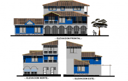 Elevation home plan detail dwg file