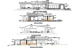Elevation hotel 3 stars plan detail dwg file
