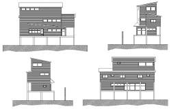 Elevation house plan detail autocad file