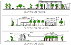Elevation library detail dwg file