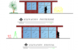 Elevation living place plan autocad file