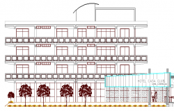 Elevation of Multi-Flooring Hotel Architecture Layout dwg file