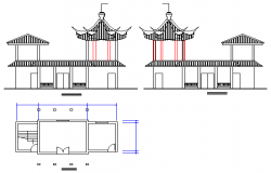 Elevation of Small House design drawing