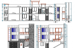 Elevation of Three Flooring Residential Housing Building dwg file