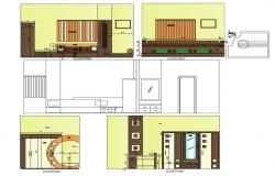 Elevation of a Bedroom CAD Drawing