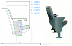 Elevation of a arm chair dwg file